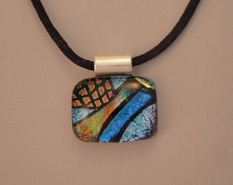 Fused Dichroic Glass Multi-Colored Pendant - BHS03631