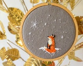 Christmas Stitchery PDF Pattern: Stargazing Fox