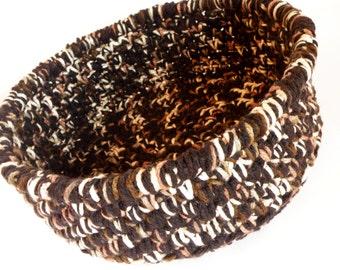 Extra Large Crochet Storage Basket in brown, black, tan,bone Combination, Sturdy and Durable Storage Bin Sorage Bin, Magazine Holder
