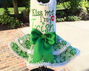 SAMPLE SALE: Kiss Me I'm Irish Dog Dress