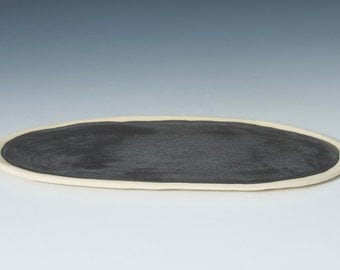 "10.75"" Matte Black / Grey + Raw Stoneware Tray / Platter, Pottery Handmade Ceramic Serving Cheese, Fish, Vanity, Display - ready to ship"