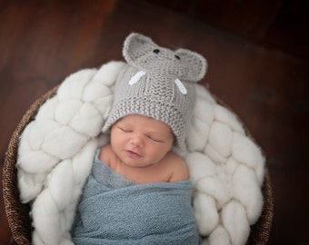 Elephant Knit Hat made to order, Baby Elephant Hat, Hand Knit Elephant Hat, Knit Baby hat, Elephant hat, Animal Hats, Knit Animal Hats