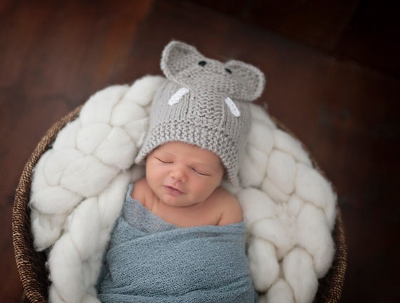 Elephant Knit Hat made to order Baby Elephant Hat Hand Knit
