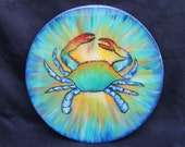 Crab, Crazy, Colorful Blue Crab, Lazy Susan, House Warming, Kitchen Art, Coastal Home Art, Beach House Kitchen Furniture by Janet Dineen