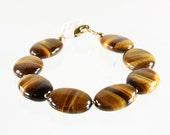 Tiger Eye Bracelet with Gold finish, fine bracelet with golden-brown gemstone and gold-filled, classic statement bracelet, BR2232