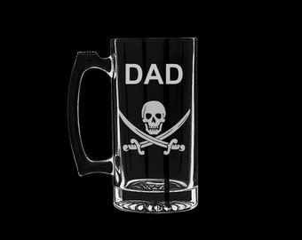 Father's Day Beer Mug Pirate Jolly Roger Fathers Day Dad Grandpa Grandfather