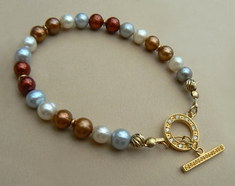 SALE - OOAK 14ct Gold filled and Gold Vermeil toggle multicolour freshwater pearl bracelet