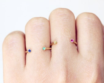 Gold Birthstone Ring, Dual Gemstone Ring, Gold Horseshoe Ring, Sapphire and Emerald Ring, September Birthstone Ring, May Birthstone Ring
