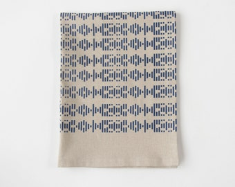 New! Broken Lines Tea Towel in Indigo - Hand Printed Geometric Tea Towel