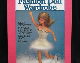 Fashion Doll Wardrobe, Knit and Crochet 16 lovely outfits for winter, spring, summer and fall, McCall's Craft book CB/8103, great retro look