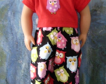 18 Inch Doll Clothes American Girl - Owl Pajamas PJs with Red Top
