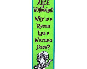 """Bookmark Sew-On Patch Lewis Carroll """"Alice in Wonderland"""" Mad Hatter Quote Craft"""
