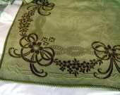 Antique Art Nouveau Textile, Panel Wool Coverlet, Throw Khaki and Apple Green Flower and Bow Reversible Jacquard Bed Cover circa 1900's