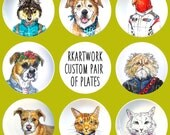 Custom Hand Painted Plates - Pair of Plates