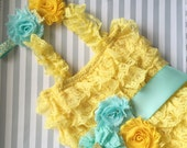 Baby Girls Lace romper-yellow lace romper set-yellow aqua gold 1st birthday baby outfit-aqua and gold 1st birthday outfit-cake smash outfit