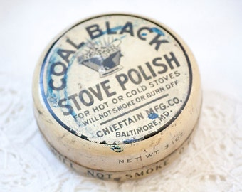 Vintage Coal Black Stove Polish in Metal Tin