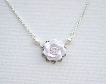 Delicate Drop Necklace in White Rose. Bradley Delicate Bridal Necklace in White Rose.
