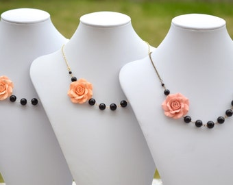 FREE EARRINGS Peach Rose and Black Beads Asymmetrical Necklace. Peach and Black Bridesmaid Necklace.