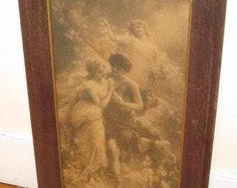 Vintage Romantic Print Wood Mission Frame Old Wavy Glass