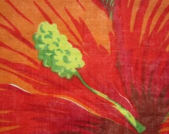 1960's hibiscus novelty handkerchief