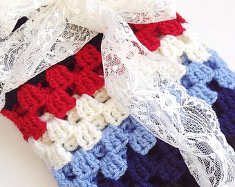 Granny Square Baby Blanket, Blue and Red Crochet Blanket, Baby Shower Gift