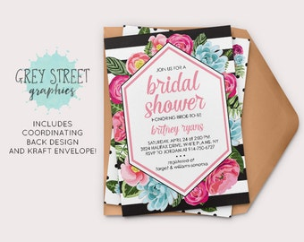 Black White Stripe Shower Invitation, Preppy Bridal Shower Invitation, Floral Bridal Shower Invitation
