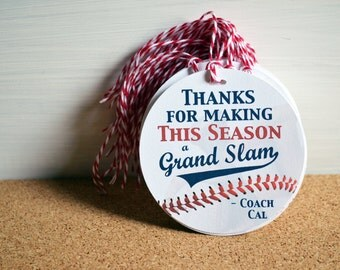 BASEBALL Tee Ball Coach Gift Tags, Little Slugger Party Favor Tag, 2.5 or 3 inch round circle, Team Gift Tags, Personalized Coach's Gift