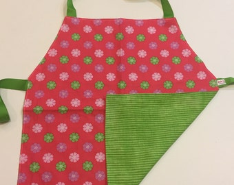 Child's Apron / Smock, reversible pink and green flowers and green stripes