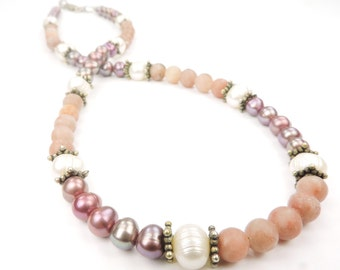Gemstone and Pearl Necklace with Sterling Silver Bali Beads, Handmade Necklace, Pink and Purple Colors,