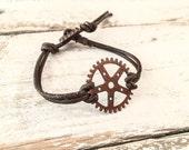 Gear Bracelet, Steampunk Bracelet, Leather Boho Bracelet B055