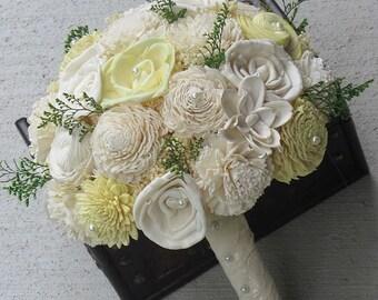Wedding Bouquet, Sola wood Bouquet, Yellow Lace Bouquet, Yellow Wedding Bouquet, Alternative Bouquet, Bouquet, Sola flowers, Wood Bouquet