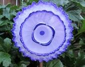 Lovely Lavender Glass Flower Suncatcher Garden Art - Hand Painted - Glass Plate Flower - Outdoor Garden Decorations - fence decor / wall art