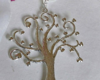 Tree of blessing Pendant, Tree of Wishes, Tree of love,  Jewel of  Nature,  Silver   Necklace, Tree of Hearts, Tree of life,  Unique Texture