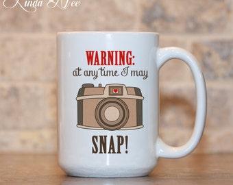 WARNING at any time I may SNAP Mug, Gift for Photographer, Photography Gift, Funny Coffee Mug, Camera Mug, Funny Photographer Mug Gift MSA54