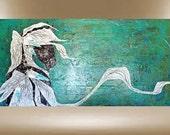 original horse painting feathered dapple textured impasto art 24x48 FREE SHIP