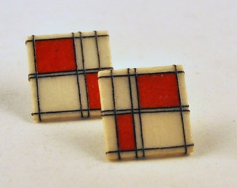 ON SALE Vintage Mondrian Handamade White and Red Earrings  -  so FUN