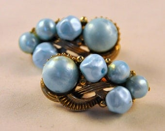 Vintage Ear Climber Moon Glow Blue Pearls and Gold Earrings - Unusual