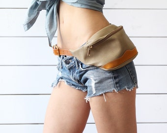COURREGES Paris vintage beige brown leather fanny pack hip pouch belt bag