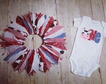 Made to Order - Cow Applique One Shirt with Cowgirl Scrap Tutu - Red Bandana, Gingham, Denim, Lace - 1st Birthday Outfit