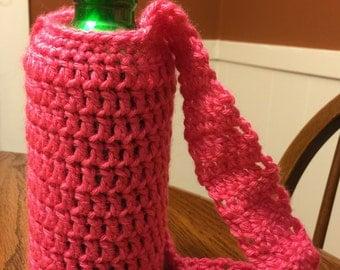 Crochet water bottle carrier