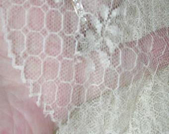 "No. 100 Gossamer Antique Silk Lace Flounce; 4 yards x 18"""