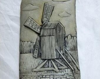 Vintage Swedish ceramic wall plaque - windmill on Öland - Carl Stenshammar design