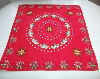 Vintage Swedish printed Christmas linen tablecloth with angels