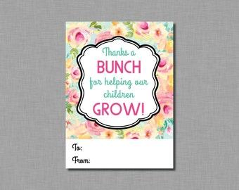 PTO Gift Tags flowers School Classroom teacher gift Instant Download pdf