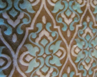 Super Soft, Super pretty Minky baby blanket, turquoise, tan and beige