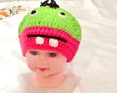 Babies monster hat , crochet hat ,baby animal hat ,handmade baby hat-kids boho hat