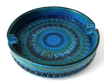 10in BITOSSI RIMINI Blu ASHTRAY Bowl Italy Handmade Art Pottery Mid Century Modern Pre 1985 Signed  Ex Cond blue green black