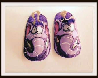 Elephant Bedroom Slippers, Kids Bedroom Slippers, Elephant Slippers, Embroidered Slippers, Made to Order