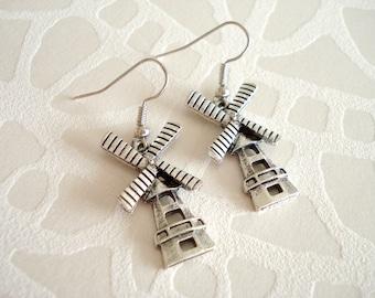 Windmill earrings. Dutch earrings. Windmill Holland. Linnepin010