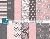 70% Sale Pink an Grey Digital Papers - Delicate Pink  Scrapbook, card design, invitations, background, paper crafts, web design - INSTANT DO